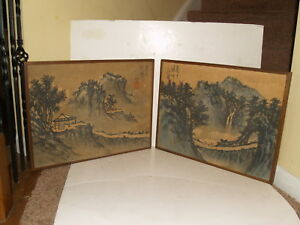 "Vintage Pair of Chinese Wood Panels Ink on Canvas 21""X16""-Landscape Painting"