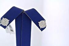 14k White Gold 1.40 CT Diamond Cluster Stud Earrings W/ Screw Back