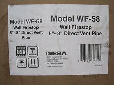 "DESA WF-58   DIRECT VENT, WALL FIRE STOP FOR 5"" x 8""   Flue Pipe Fits FMI"