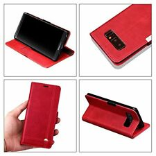 Samsung Galaxy Note 8 Wallet Case PU Leather Card Slot Slim Kickstand Folio Red