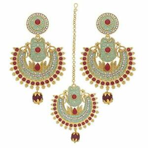 Traditional Gold Plated Meenakari and Stone Studded Maang Tikka with Earring Set