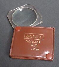 Vintage Sears No. 6482 4X Magnifier w/Leatherette Pouch, Japan