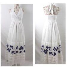 Halter Maxi Dress White Cotton by Nougat London Size Small Blue Floral Applique