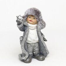 Enorme poli 26cm invierno niño MUÑECO CON PIEL Adornado escaparte Decoración