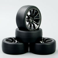 4PCS 1:10 RC Flat Rubber Speed Drift Racing Tires&Wheel rims Set For HSP HPI Car