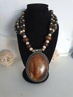 Hand Made Ethnic Polished Bone Horn Bead Necklace Boho Hippy Tribal Festival