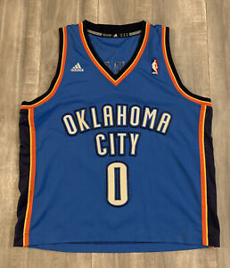 Adidas Oklahoma City #0 Russell Westbrook Blue Jersey Size Medium