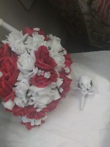 LARGE WEDDING BOUQUET RED &  WHITE OR ANY COLOR WITH BOUT RUSH ORDERS AVAILABLE
