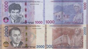 Armenia 2 Note Set: 1000 & 2000 Dram (2018) - Polymer Hybrid Notes, p-New UNC