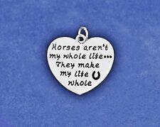 Horse Charm Sterling Silver Plt Pendant Horses Aren't My Whole Life Horseshoe