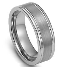 Tungsten Carbide Men's Brushed Center 8MM Silver Wedding Band Ring Size 13 SR141