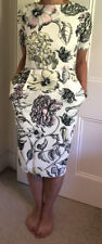 ASOS DESIGN White Floral Fitted Pencil Dress Size 6/8