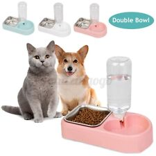 Automatic Pet Dog Bunny Cat Food Water Dispenser Dish Bowl Feeder Drinking Us