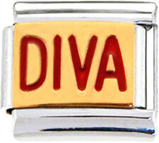 DIVA PRINCESS SPOILED Enamel Italian Charm 9mm - 1 x NC210 Single Bracelet Link