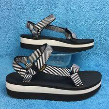 500be6559e8 rare TEVA FLATFORM Universal Black WhiteCandy Stripe platform sandal women s  11