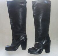 DOLCE & GABBANA BLACK  LEATHER BUCKLE BOOTS SIZE 40