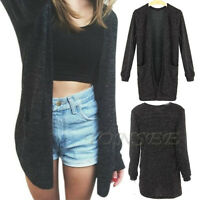Women Sexy Cardigan Casual Long Sleeve Knitted Outwear Loose Jacket Coat Sweater