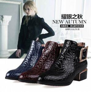 New Stylish Women Fashion Dark Blue Navy Patent-leather zip boots