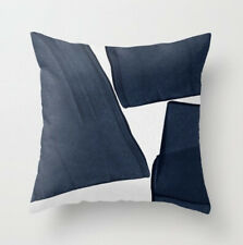 Navy Blue abstract watercolour cushion cover, fine fabric, brush stokes, scandi