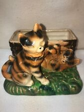Vtg 1940's Japan Pottery Art Orange Tiger Striped Cat Playful Kittens Planter