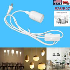 E26/E27 Bulb Socket Extension Hanging Pendant Light Lamp Cord Cable with Switch