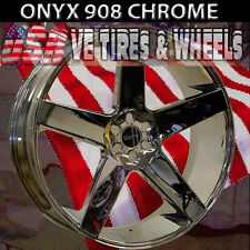 ONYX 908 24x9  5x115 ET15 CHROME  WITH TIRES CHARGER 300C  NEW DUB BALLER DUB