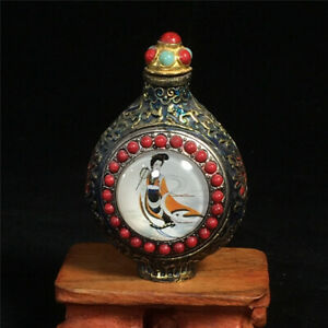 """3.15/"""" Collection Chinese red Coral Gilt Hand carving bat pattern snuff bottle"""