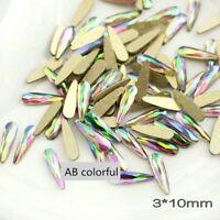 20/50/100x Crystal AB Czech Rhinestone Nail Art Flatback Elongated Glass Stones