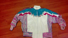 Womens Vintage Augustina Leather Jacket -  White,Pink,Turquiose,Silver - 1980s?