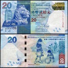 HONG KONG HSBC 20 Dollars dolares 2010 2012 Pick 212b  SC /  UNC