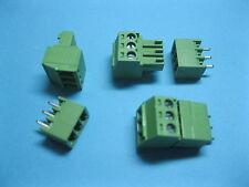 10 pcs Pitch 3.5mm 3way/pin Screw Terminal Block Connector Green Pluggable Type