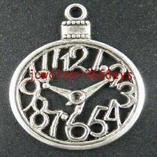 18pcs Tibetan Silver Clock Charms 39.5x30mm 12993