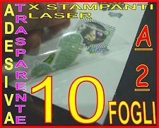 10 FOGLI A2 CARTA ADESIVA TRASPARENTE LUCIDA POLIPROPILENE X STAMPANTE LASER PVC