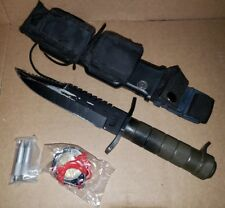 "Survival Knife 7.5"" fixed blade w/ compass sheath and extras 12"" total rostfrel"