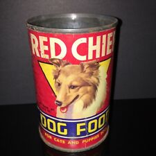 HTF VINTAGE! Red Chief 1950s Dog Food Tin Can Collie Paper Label Old Pet Shop
