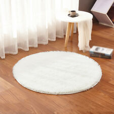 Round Fluffy Rug Anti-Skid Shaggy Dining Room Bedroom Carpet Floor Mat 40CM LP