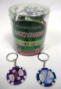 Wholesale Lot Of 48 Poker Chip Novelty Key Chains Texas Hold-Em Lucky Charm B-5