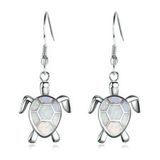 Fashion Silver White Crystal Turtle Hook Drop Dangle Earring Jewelry