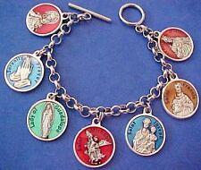 """ENAMEL Religious Saint Medal Charm Bracelet Lot PRAYERS Stainless Steel 7"""" A8"""