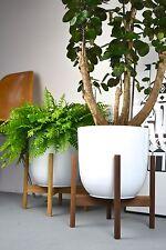 XL Mid Century modern design danish Planter Blumentopf Walnuss abgerundet