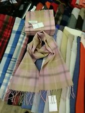 100% Lambswool tartan Scarf by Lochcarron   Pink Check   Made in Scotland