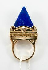 VERSACE Gold plated w/ Pyrmaid Lapis  Medusa Ring size 13 / 6 3/4  $450