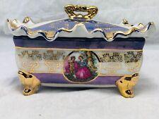 Decorative Vintage French Porcelain Trinket Jewellery Romance Gilt Box Ripple