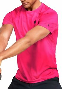 Under Armour Rush Mens Training Top Pink Fitted Short Sleeve Gym Workout T-Shirt