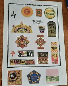 Harry Potter - A4 Page of 15 Weasley Sweet Labels -  Posted 1st class