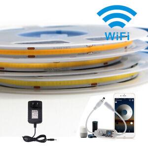 1-5M wifi COB LED Strip 384LED/M Tape Lights Kits RGB Cabinet Lamp Alexa Google