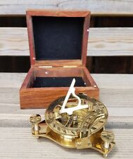 """New Solid Brass Nautical 3"""" Sundial Compass in Wooden Teak Box Steampunk Style"""