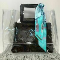 Women's Clear PVC Trendy Handbag Tote Purse Black & White Faux Leather Handles