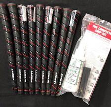 9 X Lamkin Wrap Tech Black/Red Std Golf Grips and Brampton DIY Grip Kit.