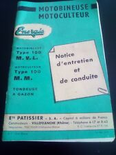 Notice Energic motobineuse motoculteur tracteur, Ets Patissier Villefranche BP